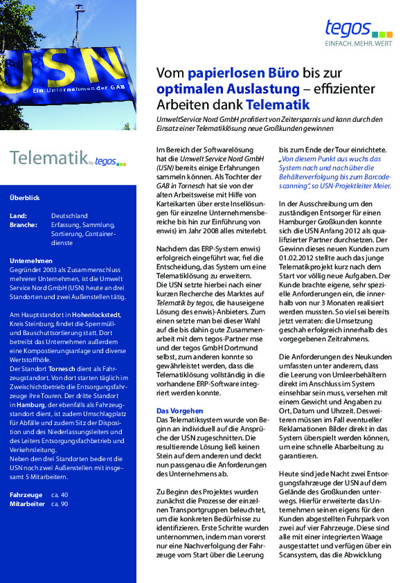 Download now: Telematics at environmental services Nord GmbH