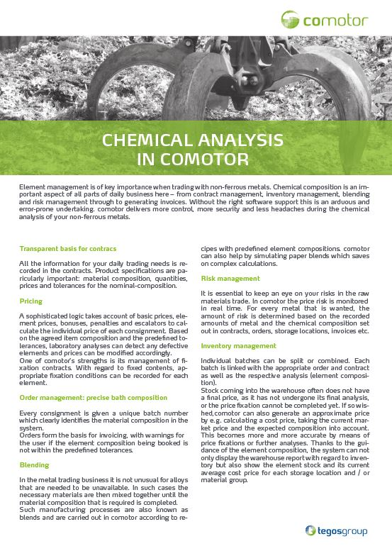 Download now: Chemical Analysis in comotor